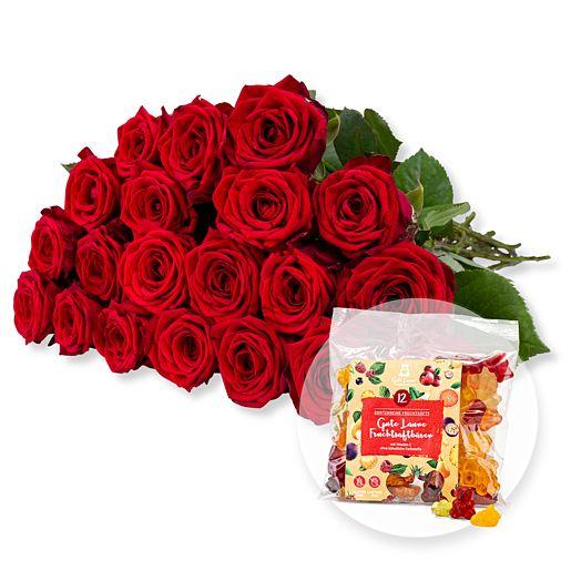 Nützlichblumen - 20 langstielige rote Premium Rosen und Gute Laune Fruchtsaftbärchen - Onlineshop Valentins