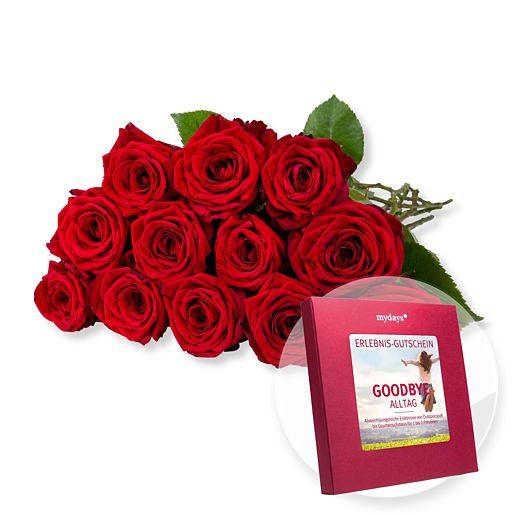 12 langstielige rote Premium-Rosen und mydays B...