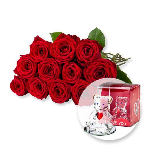 12 langstielige rote Premium Rosen und Glasbär mit Herz