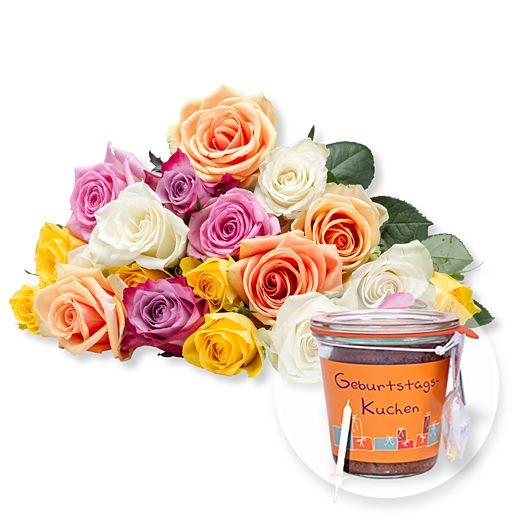 20 bunte Rosen und Kuchen im Glas Geburtstag