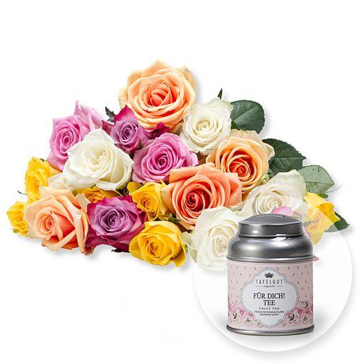 20 bunte Rosen und Tafelgut Für Dich Tee