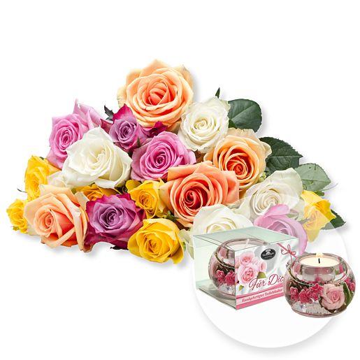 20 bunte Rosen und Dreamlight Für Dich