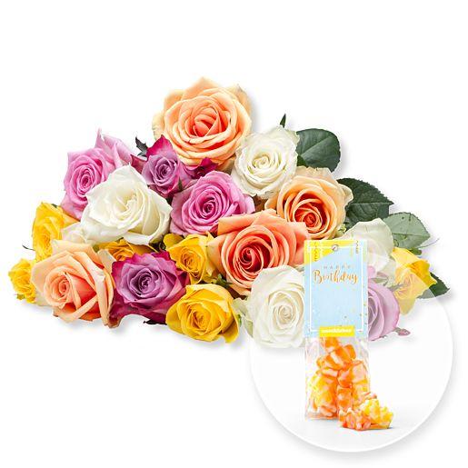 20 bunte Rosen und Fruchtgummi Happy Birthday