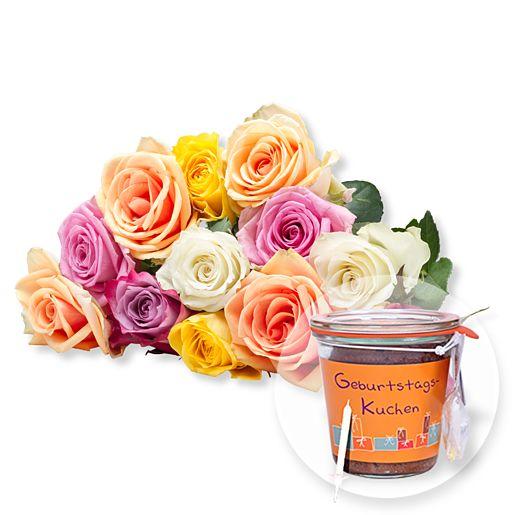 12 bunte Rosen und Kuchen im Glas Geburtstag