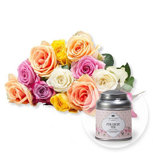 12 bunte Rosen und Tafelgut Für Dich Tee
