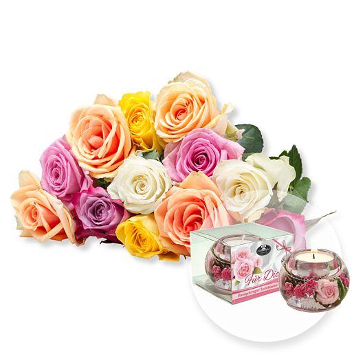 12 bunte Rosen und Dreamlight Für Dich