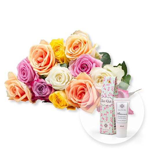 12 bunte Rosen und Blütenrausch Pfingstrosen-Ha...