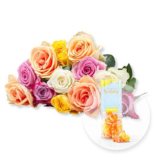 12 bunte Rosen und Fruchtgummi Happy Birthday