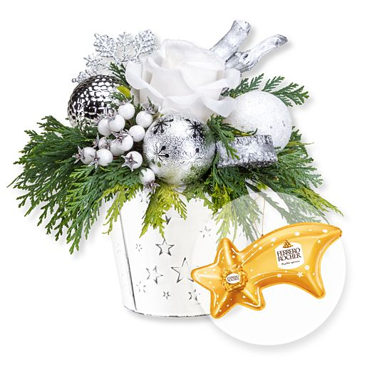 - Adventsgesteck Silberglanz und Ferrero Rocher Sternschnuppe - Onlineshop Valentins