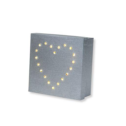 Geschenk-Box mit LED-Herz-Dekor (13cm)