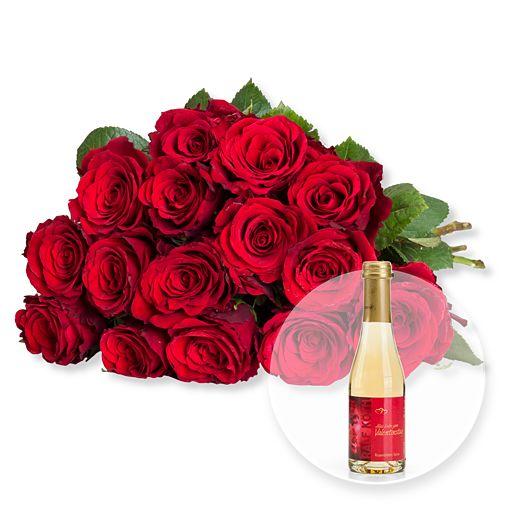 15 rote Fairtrade-Rosen und Rosenblüten-Secco Alles Liebe zum Valentinstag
