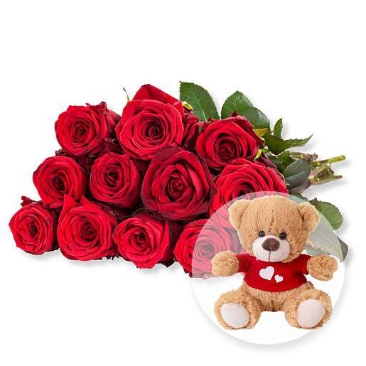 Nützlichblumen - 12 rote Fairtrade Rosen und Love Teddy - Onlineshop Valentins