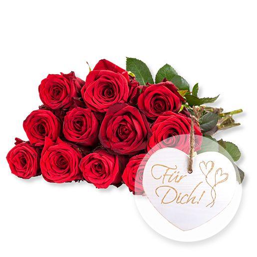 12 rote Fairtrade-Rosen und Vintage-Herz Für Dich!