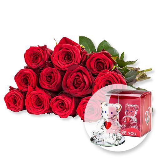 Nützlichblumen - 12 rote Fairtrade Rosen und Glasbär mit Herz - Onlineshop Valentins