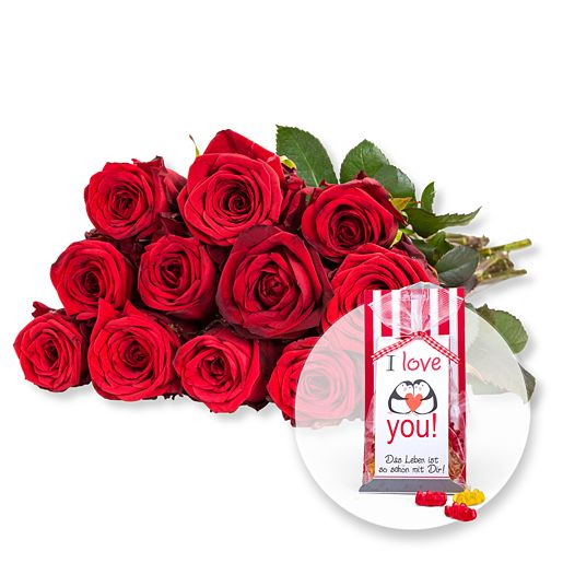 12 rote Fairtrade-Rosen und Fruchtgummi I love you