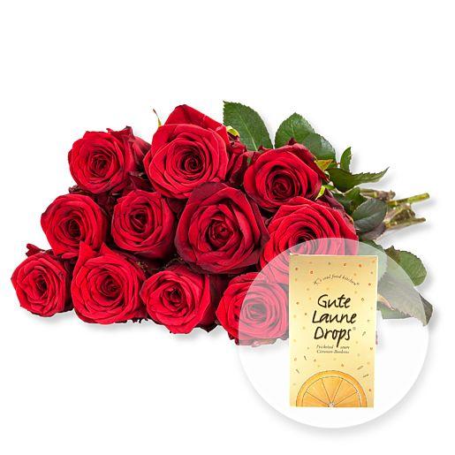 12 rote Fairtrade Rosen und Gute Laune Drops