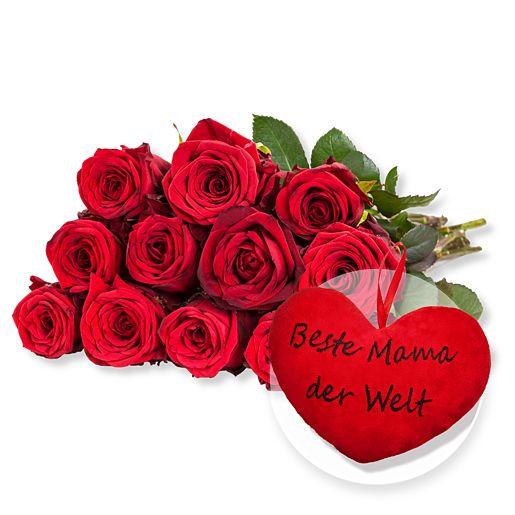 12 rote Fairtrade-Rosen und Kuschel-Herz Beste Mama der Welt!