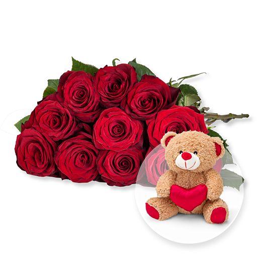 Nützlichblumen - 10 langstielige rote Premium Rosen und Love Teddy - Onlineshop Valentins