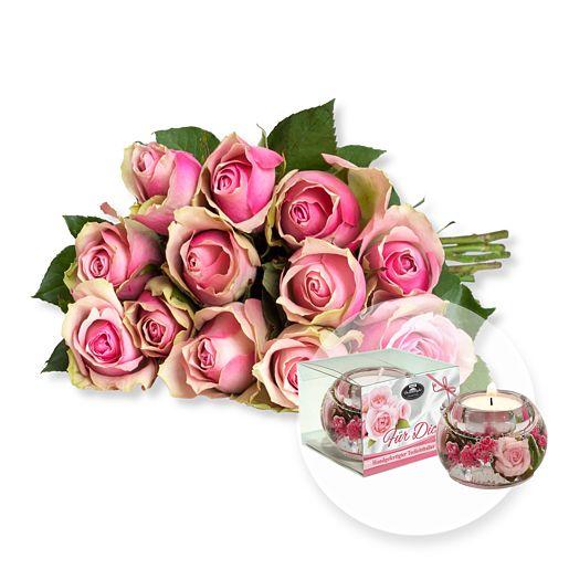 12 rosafarbene Fairtrade-Rosen und Dreamlight Für Dich