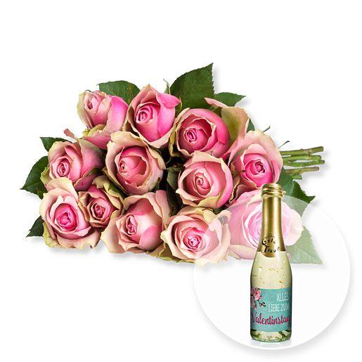 12 rosafarbene Fairtrade-Rosen und Valentinstags-Piccolo