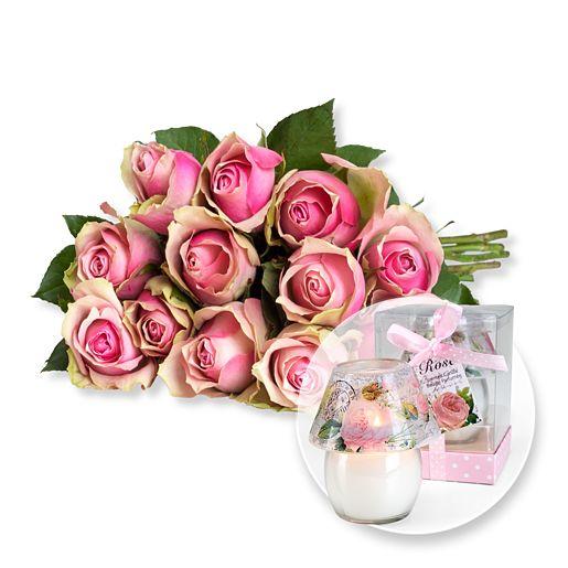 12 rosafarbene Fairtrade-Rosen und Windlicht mit Rosenduft