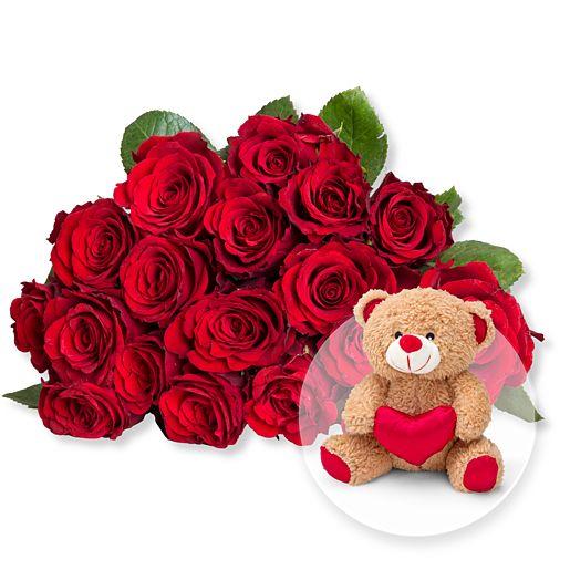 Nützlichblumen - 18 rote Fairtrade Rosen und Love Teddy - Onlineshop Valentins