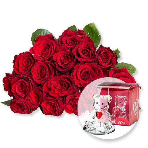 18 rote Fairtrade Rosen und Glasbär mit Herz