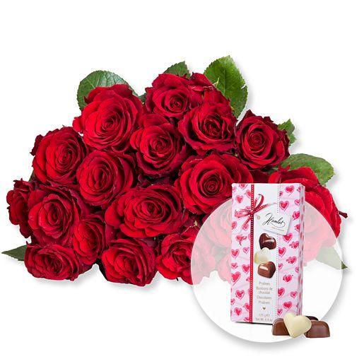 18 rote Fairtrade Rosen und Herz Pralinen Trio