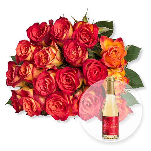 18 gelb-orangefarbene Fairtrade-Rosen und Rosenblüten-Secco Alles Liebe zum Valentinstag