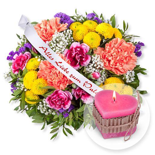 Lieber Gruß und Schleife: Alles Liebe zum Valentinstag! und Herz-Kerze