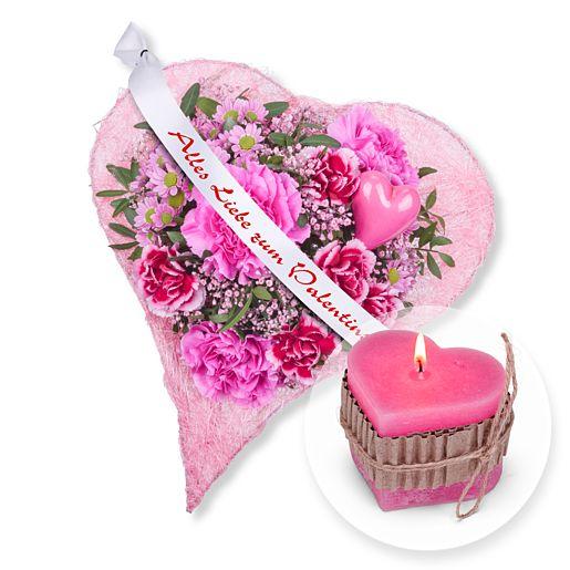 Herzenssache und Schleife: Alles Liebe zum Valentinstag! und Herz-Kerze