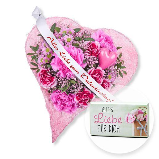 Herzenssache und Schleife: Alles Liebe zum Valentinstag! und Schokolade Alles Liebe