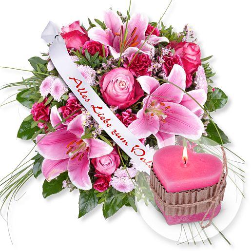 Chanson und Schleife: Alles Liebe zum Valentinstag! und Herz-Kerze