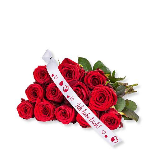 12 rote Fairtrade-Rosen und Schleife: Ich liebe Dich!