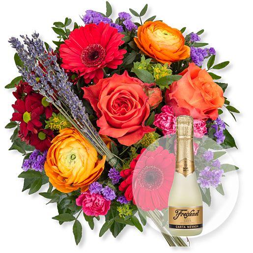 Nützlichblumen - Farbenfreude und Freixenet Semi Seco - Onlineshop Valentins