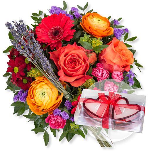 Nützlichblumen - Farbenfreude und Herzkerzen in Geschenkpackung - Onlineshop Valentins