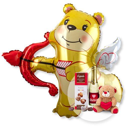 Riesenballon Amors Bär und Geschenk-Set Valentinstag
