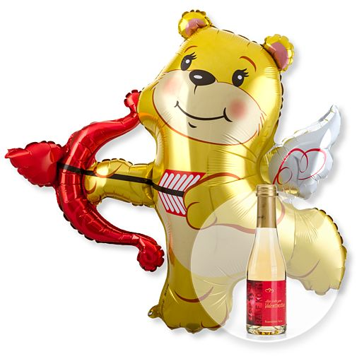 Riesenballon Amors Bär und Rosenblüten-Piccolo Alles Liebe zum Valentinstag