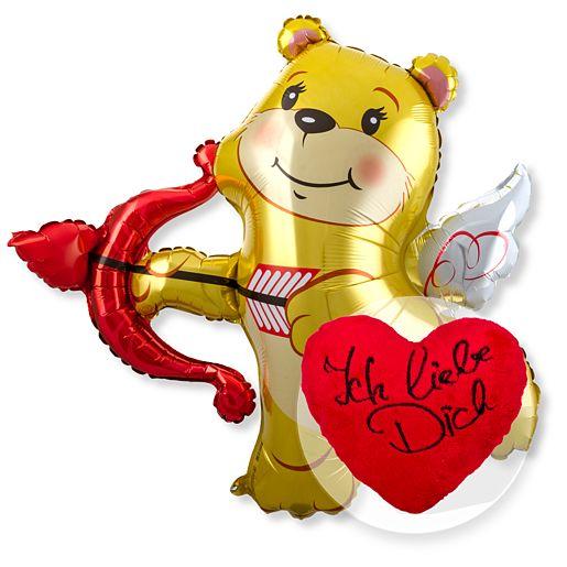 Partybedarfballons - Riesenballon Amors Bär und Kuschel Herz Ich liebe Dich - Onlineshop Valentins