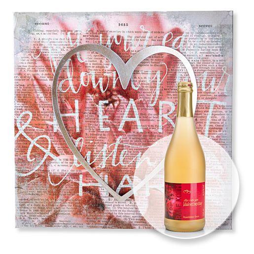 Wandbild Love und Rosenblüten-Secco Alles Liebe zum Valentinstag