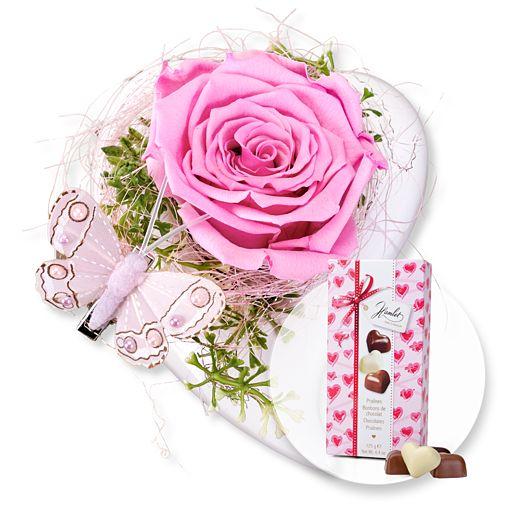 Herz-Schale mit haltbarer Rose und Herz-Pralinen-Trio