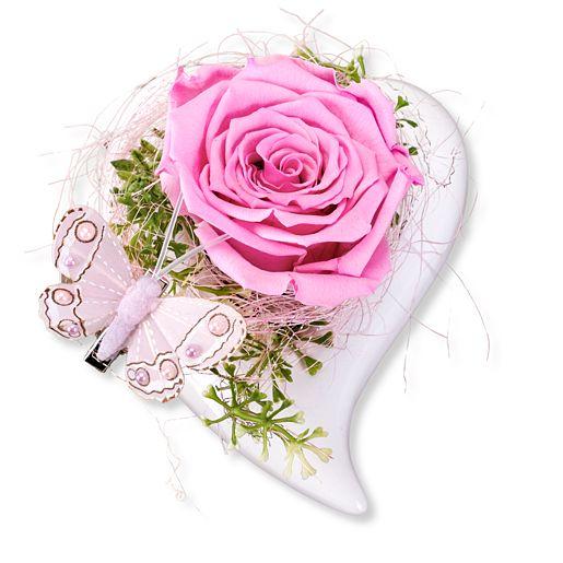 Herz-Schale mit haltbarer Rose
