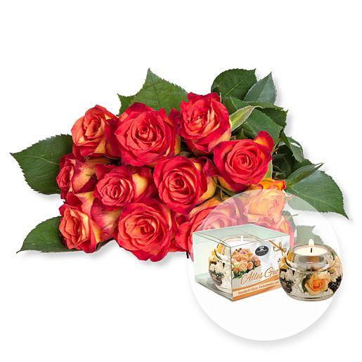 Nützlichblumen - 12 gelb orangefarbene Fairtrade Rosen und Dreamlight Alles Gute - Onlineshop Valentins