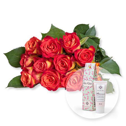 Nützlichblumen - 12 gelb orangefarbene Fairtrade Rosen und Blütenrausch Pfingstrosen Handcreme Für Dich - Onlineshop Valentins