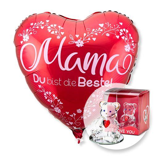 Ballon Mama du bist die Beste rot und Glasbär mit Herz
