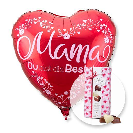 Ballon Mama du bist die Beste rot und Herz-Pralinen-Trio