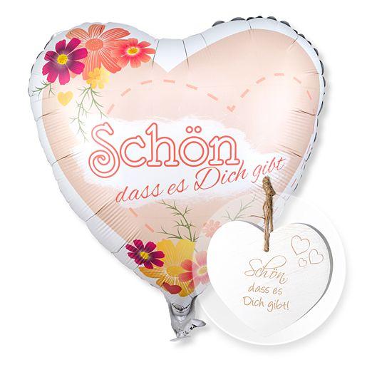 Partybedarfballons - Ballon Schön, dass es dich gibt! und Vintage Herz Schön, dass es Dich gibt! - Onlineshop Valentins