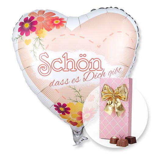 Partybedarfballons - Ballon Schön, dass es dich gibt! und Belgische Pralinen Auslese - Onlineshop Valentins
