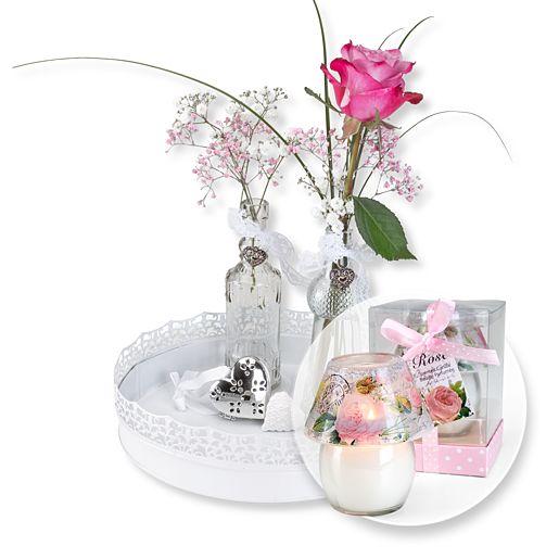 Vasen-Set Rosenzauber und Windlicht mit Rosenduft