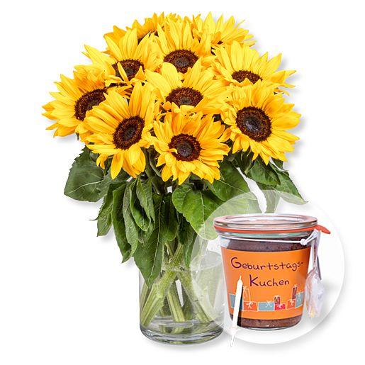 10 Sonnenblumen und Kuchen im Glas Geburtstag